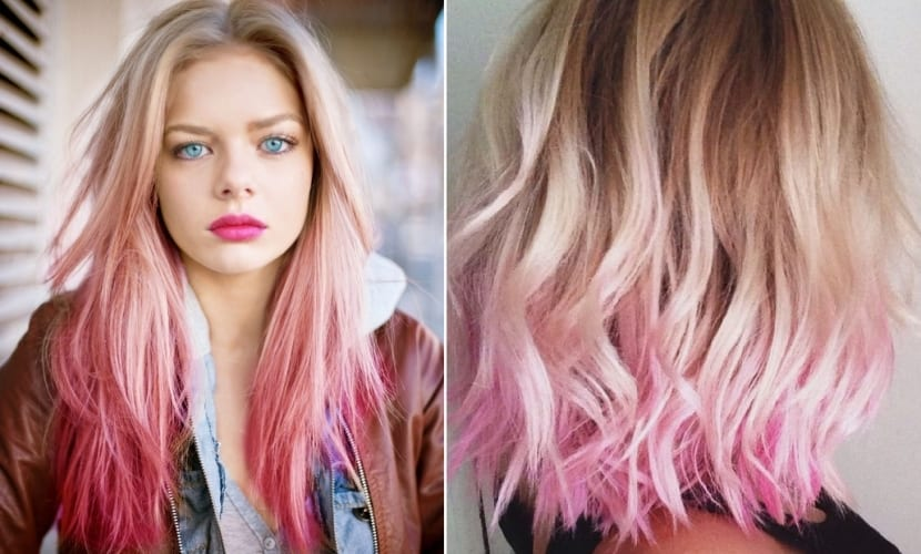 Cabello rubio degradado en rosa
