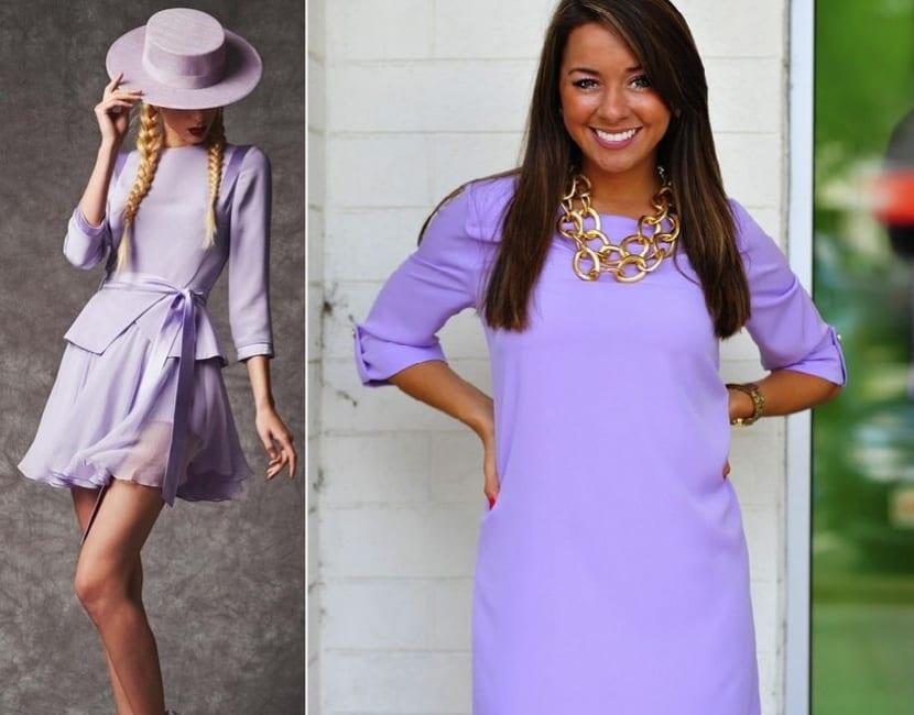 Vestidos cortos en lila claro
