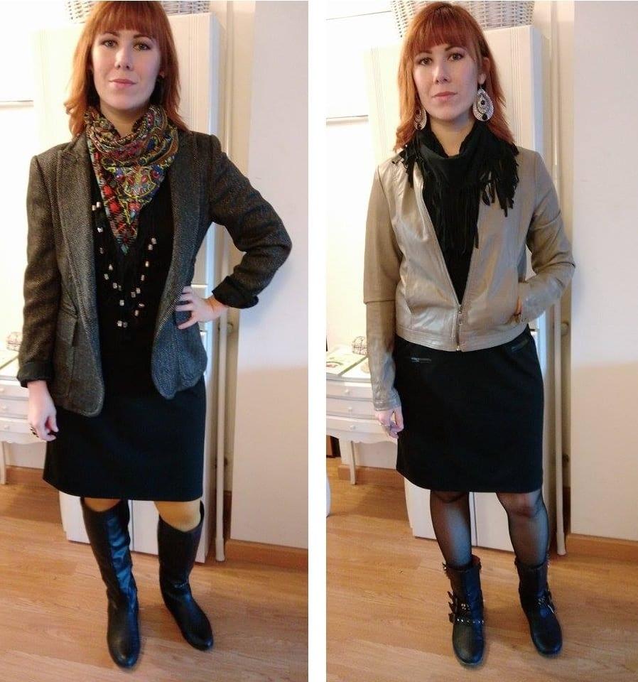 Combinar vestido negro con chaqueta