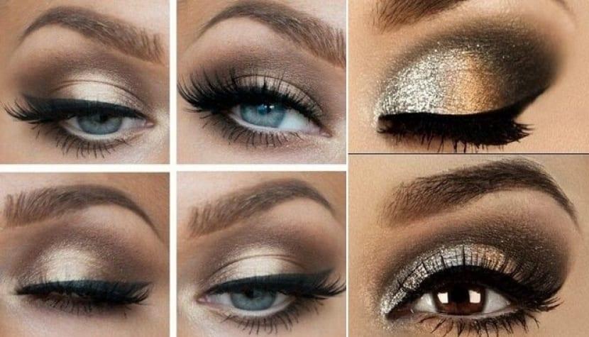 Maquillaje con brillos para noche