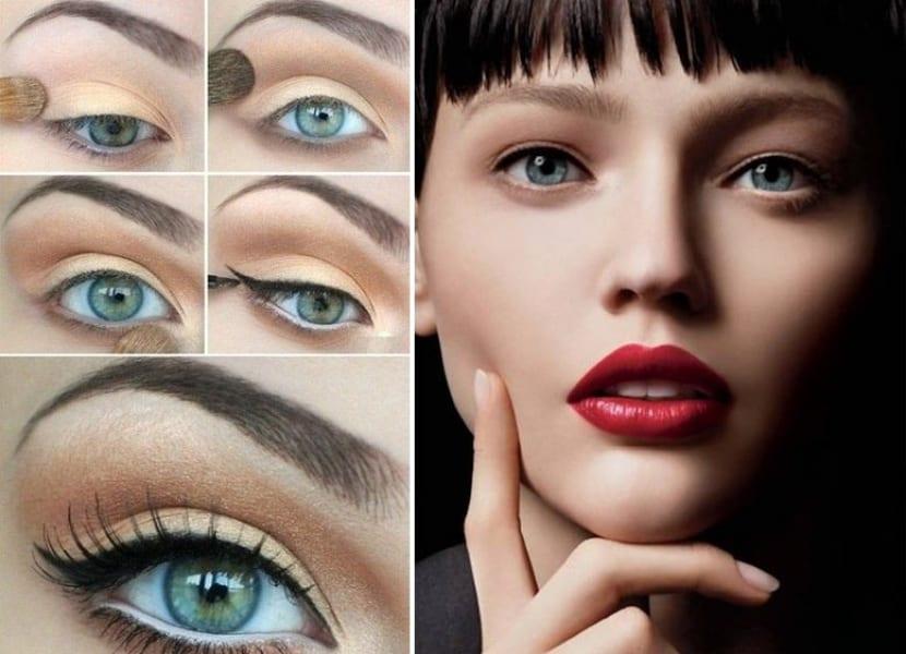 Ojos naturales y labios rojos