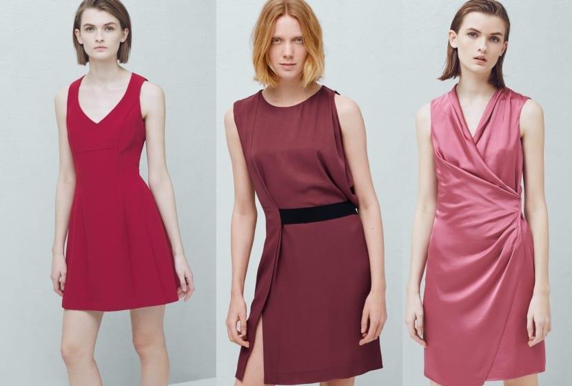 Vestidos cortos en tonos rojizos