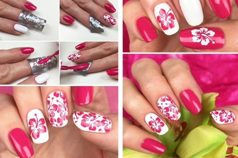 Manicura rosa y blanca