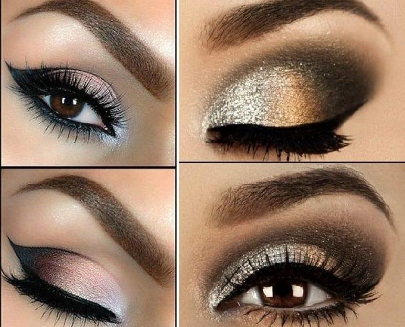 Maquillaje de ojos en dorado