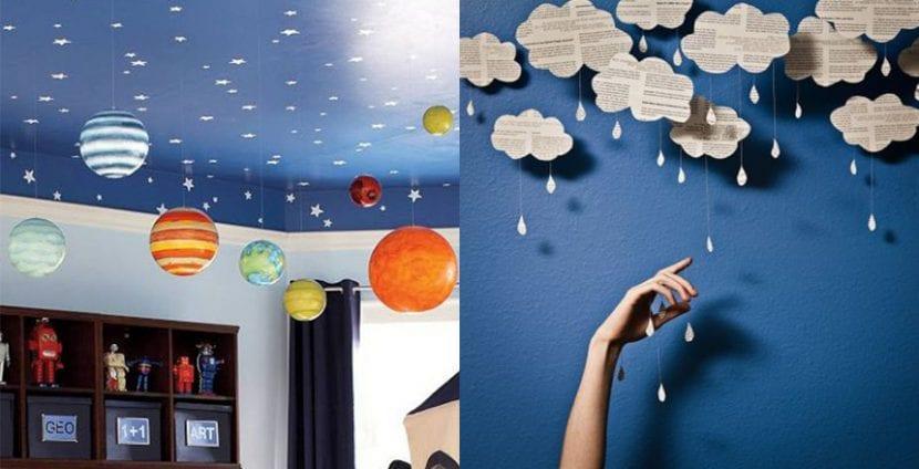 Decoración con nubes colgantes, manualidades para niños