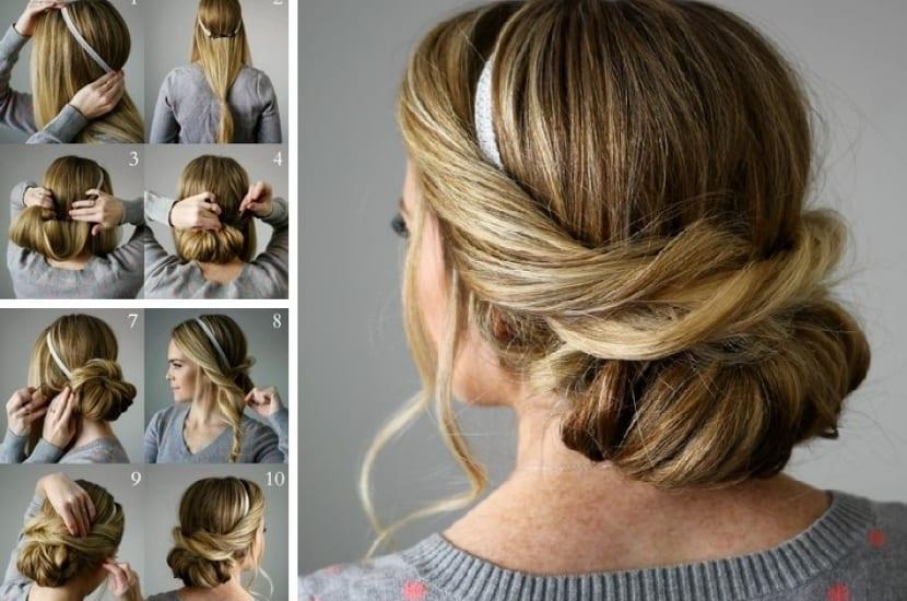 Peinado sencillo con diadema