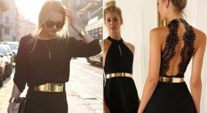 Cinturón dorado sobre vestido negro