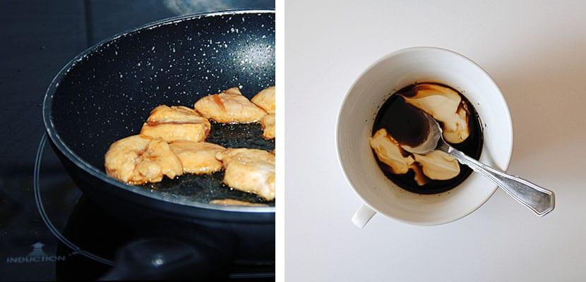 Ensalada de pollo. arroz y salsa de soja