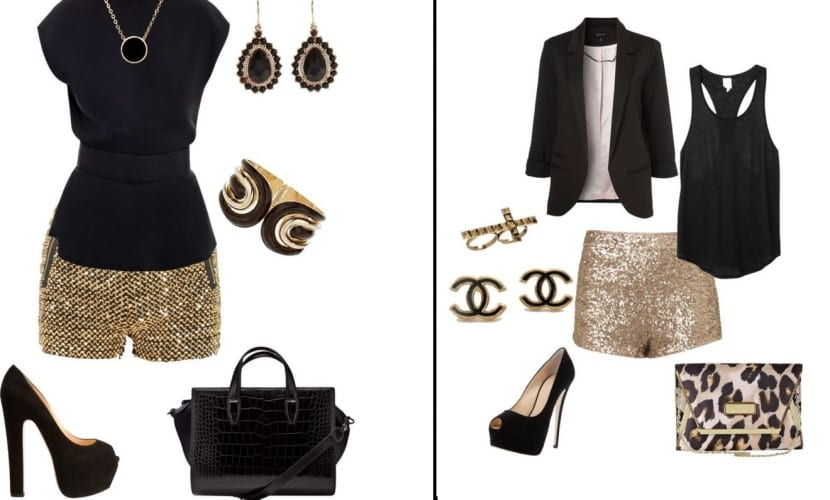 Combinar vestido negro con accesorios dorados