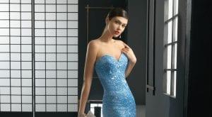 Vestido elegante azul brillos