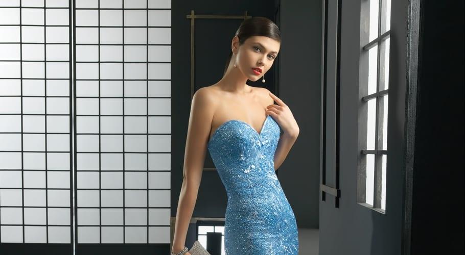 51db612b7 Vestidos elegantes de Rosa Clará en color azul
