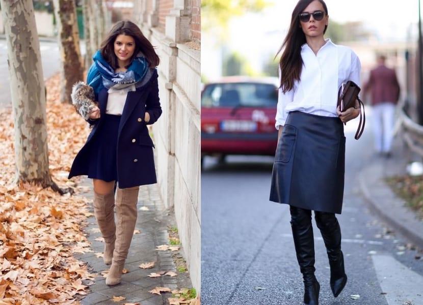 Combinar botas altas con falda