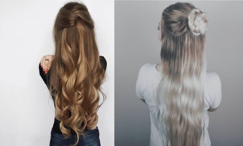 peinado semi recogido sencillo - Peinados Sencillos