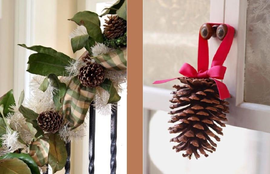 Ideas de adornos de navidad caseros for Decoracion con pinas secas
