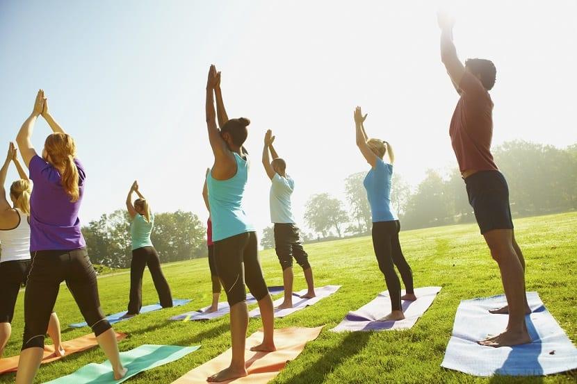 Chicas haciendo yoga en la naturaleza