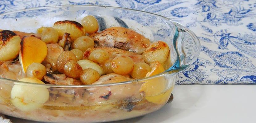 Pollo a la sidra con uvas