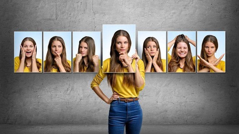 Chica con fotos de su cara expresando emociones