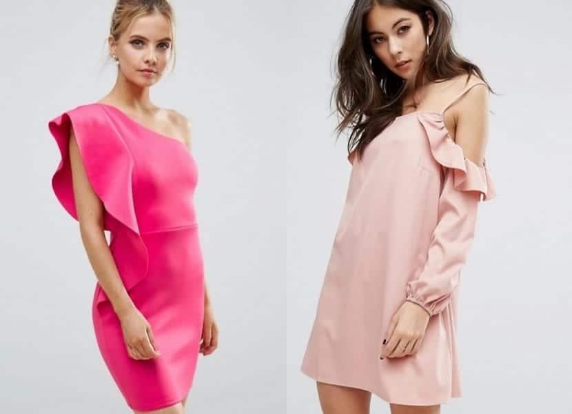 Vestidos en rosa con volantes