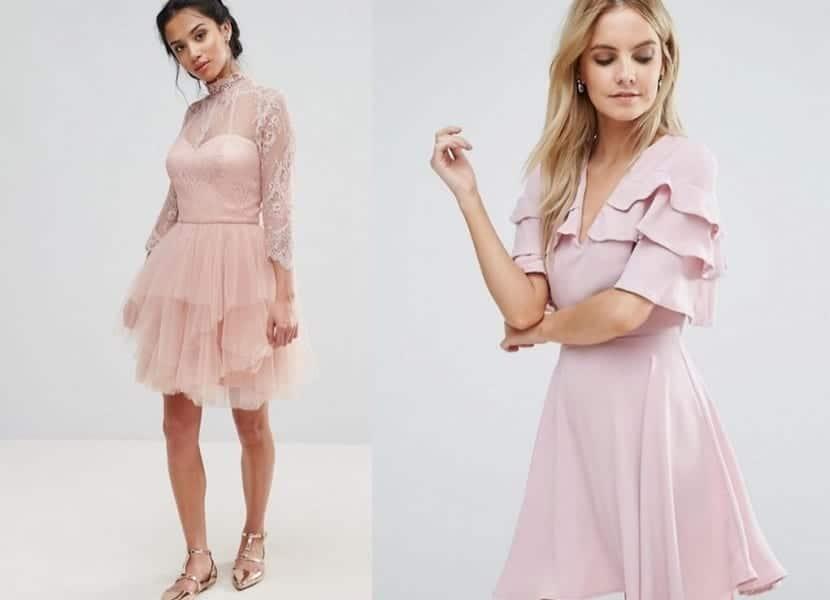 Vestidos rosa palo con volantes