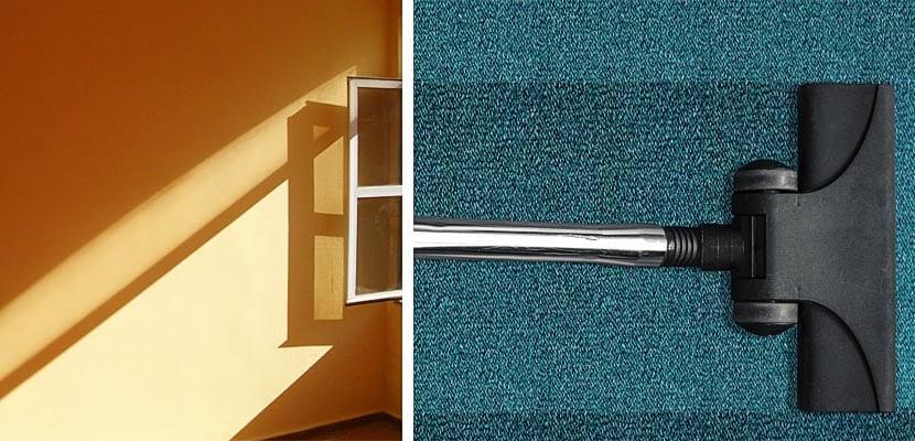 Ventilar y aspirar alfombras