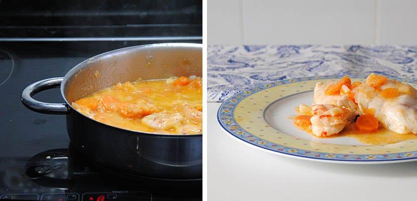 Filetes de merluza en salsa de zanahoria