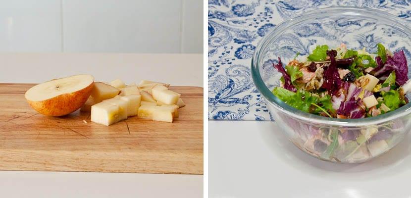 Ensalada de salmón y manzana con aliño de mostaza