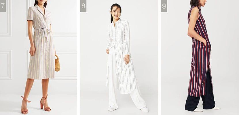 Vestidos camiseros de rayas
