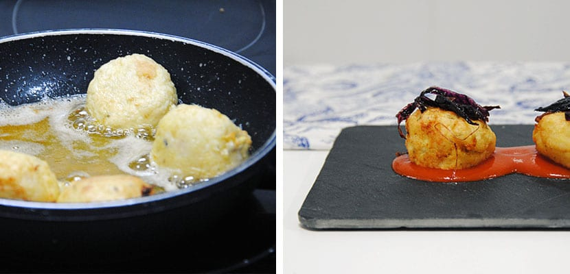 Albóndigas de merluza con cebolla caramelizada