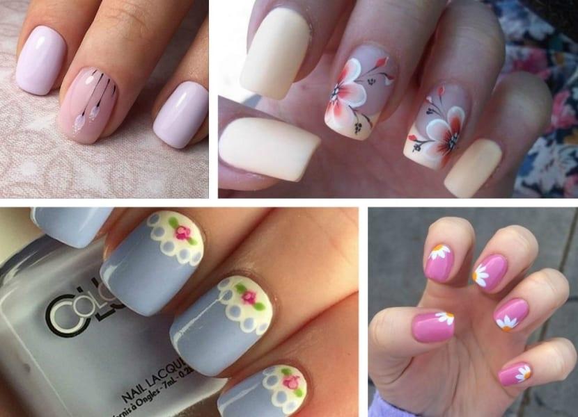 Manicura de flores en color