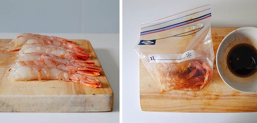 Gambones marinados a la plancha con salsa de mayonesa y pimentón