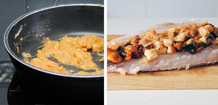 Merluza rellena de mejillones y langostinos