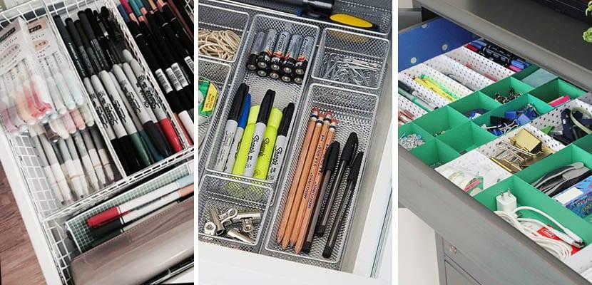 Organización de los cajones del escritorio