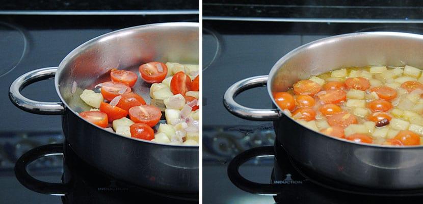 Cazuela de berenjena, tomates y bonito
