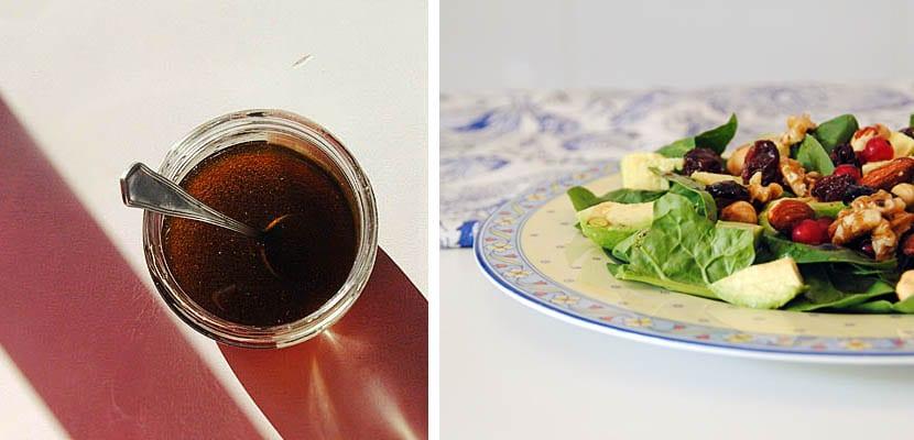 Ensalada de espinacas, aguacate y grosellas