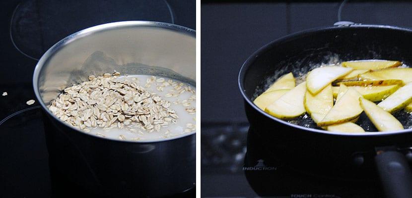 Porridge de avena con manzana y frutos secos