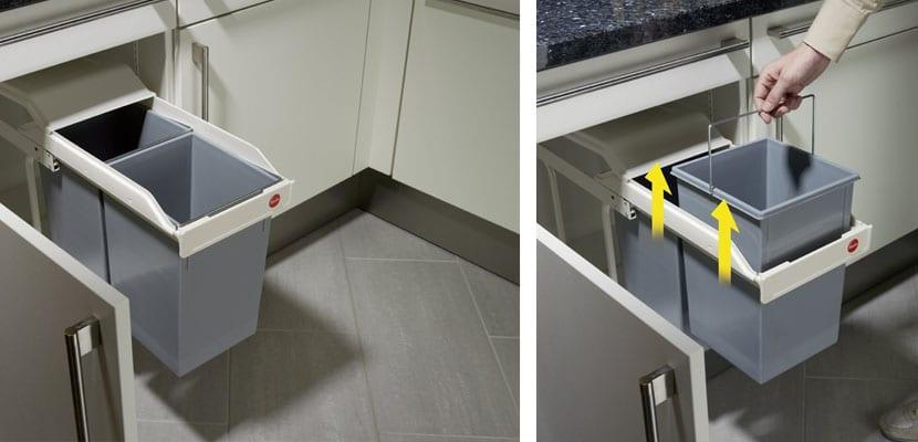 Cubos de basura extraibles para armario