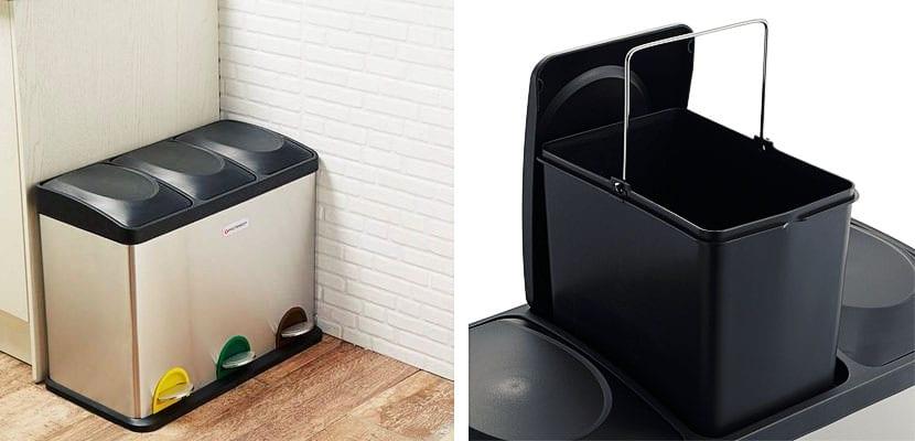 Cubos de basura con compartimentos