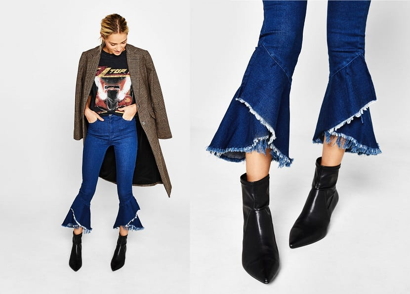 Pantalones con volantes y flecos
