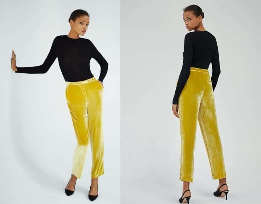 Pantalones de terciopelo en amarillo