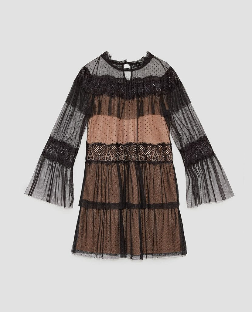 vestido negro de encaje para halloween