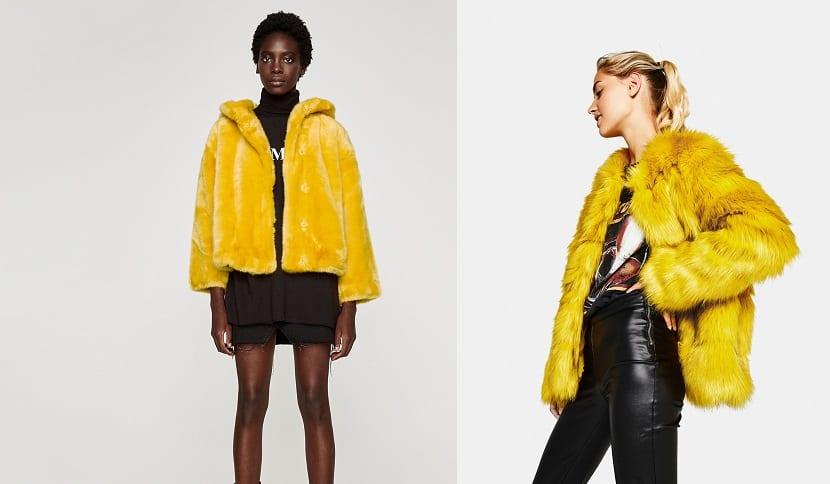 Abrigos de pelo en amarillo