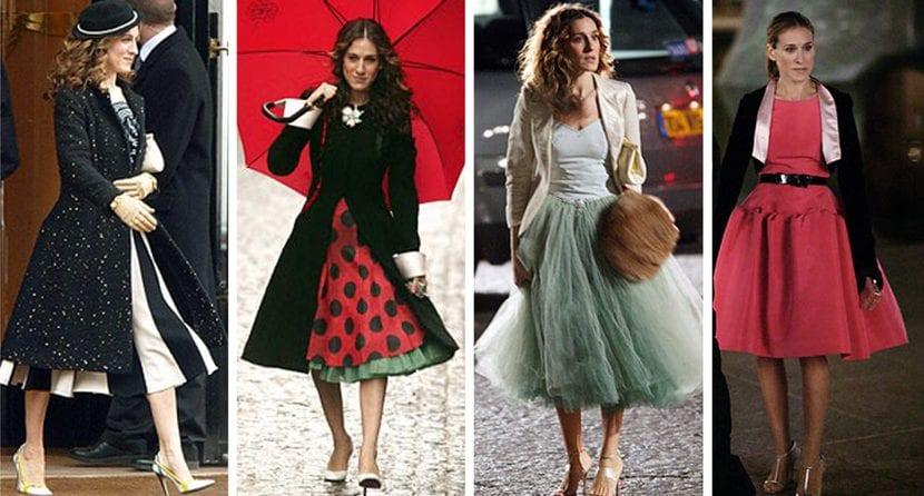 carrie bradshaw estilo falda midi inspiracion