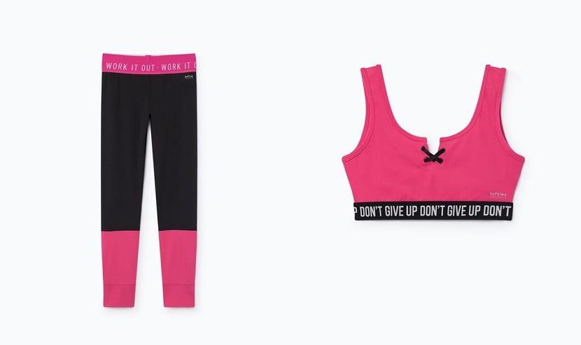Leggings combinados en rosa