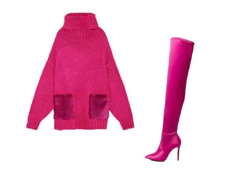 look con botas altas de color rosa por encima de la rodilla