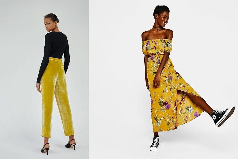 Pantalones y vestido en amarillo