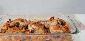 Pollo asado con boniato y setas