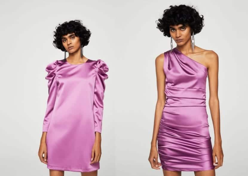 Vestidos cortos en color lila