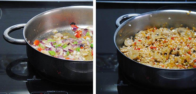 Arroz con verduras y champiñones