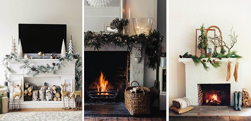Chimeneas con decoracion navideña
