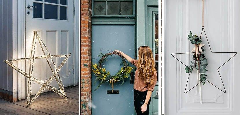 Adornos navideños para la puerta principal
